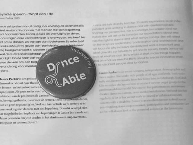 Badge and excerpt from Dance Able conference
